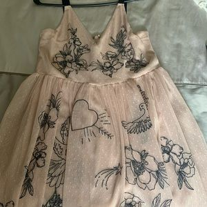 Whimsical Blush Dress with Embroidery